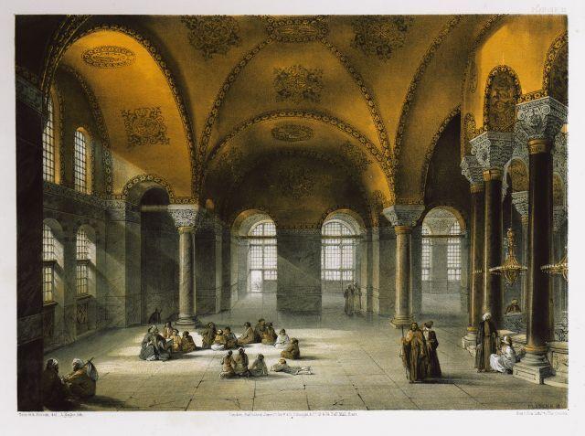 Αγία Σοφία Κωνσταντινούπολης: 'Αποψη τμήματος του υπερώου από τα νοτιοδυτικά. - FOSSATI, Gaspard - ME TO BΛΕΜΜΑ ΤΩΝ ΠΕΡΙΗΓΗΤΩΝ - Τόποι - Μνημεία - Άνθρωποι - Νοτιοανατολική Ευρώπη - Ανατολική Μεσόγειος - Ελλάδα - Μικρά Ασία - Νότιος Ιταλία, 15ος - 20ός αιώνας