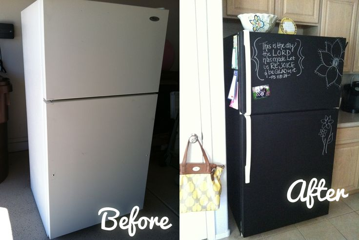 Awesome Kitchen Remodel DIY – Make Your Own Chalkboard Refrigerator  i wonder if i can do this with my silver fridge?