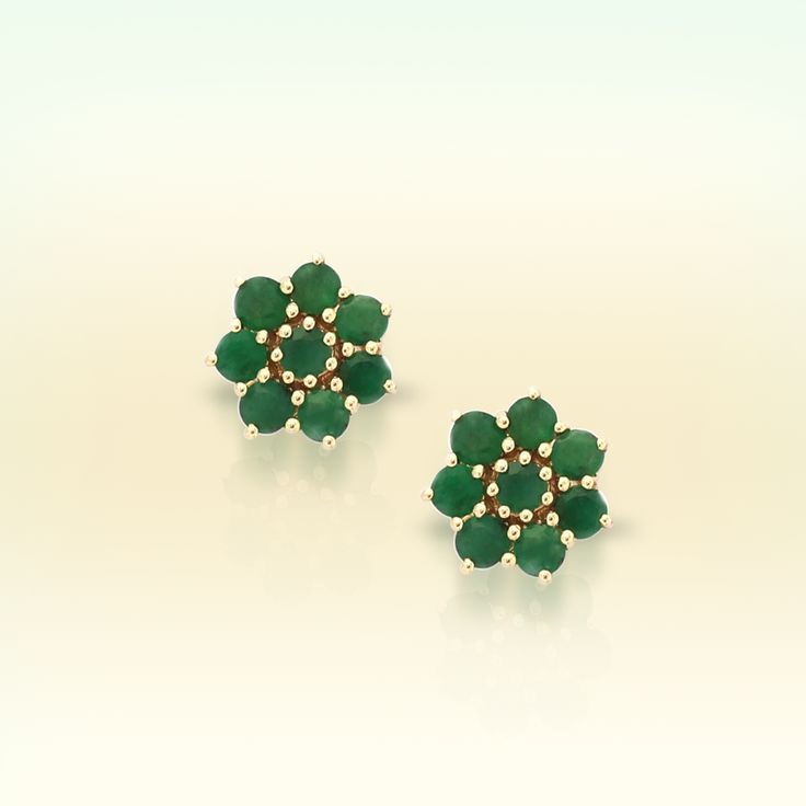 Emerald earrings in 9K Gold   Gemporia India