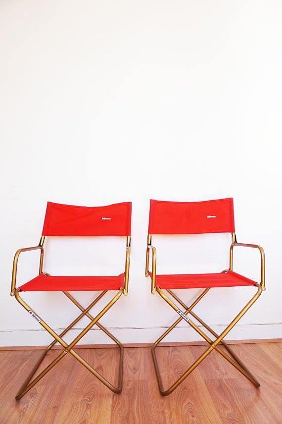 Paire De Fauteuils Pliant Toile Rouge Lafuma Vintage Laiton Folding Chair Lafuma Chair 1960s Chairs