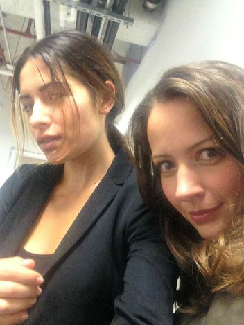 "Sarah Shahi Shares CBS' Person of Interest Exclusive Photos with Amy Acker [Samantha Shaw and ""Root""] (via Frank Rakestraw)"