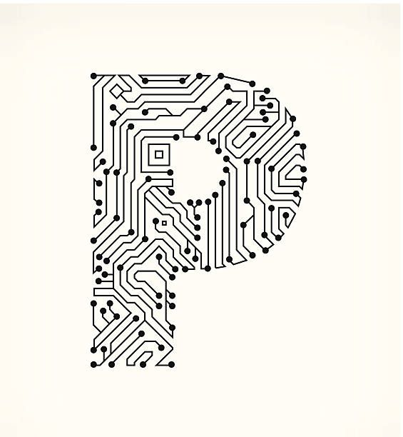 letter p circuit board on white background vector art illustration