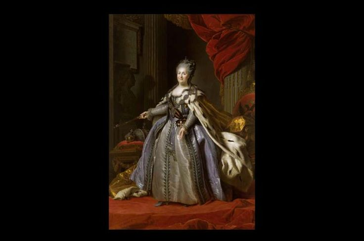 'Catherine II' by Fedor Stepanovich Rokotov, 1780s. Rokotov's portrait is a version of the large portrait of Catherine by the Swedish artist Antoine Roslin, and was one of the most popular state portraits of the Empress. Her gesture with the sceptre towards the bust of Peter the Great and the inscription 'She is completing that which was begun' drove home the message that Catherine was continuing emperor's work.: Continuous Emperor, Art Gallery, Antoine Roslin, Popular, European History, Large Portraits, Emperor Work, Artists Antoine, Swedish Artists