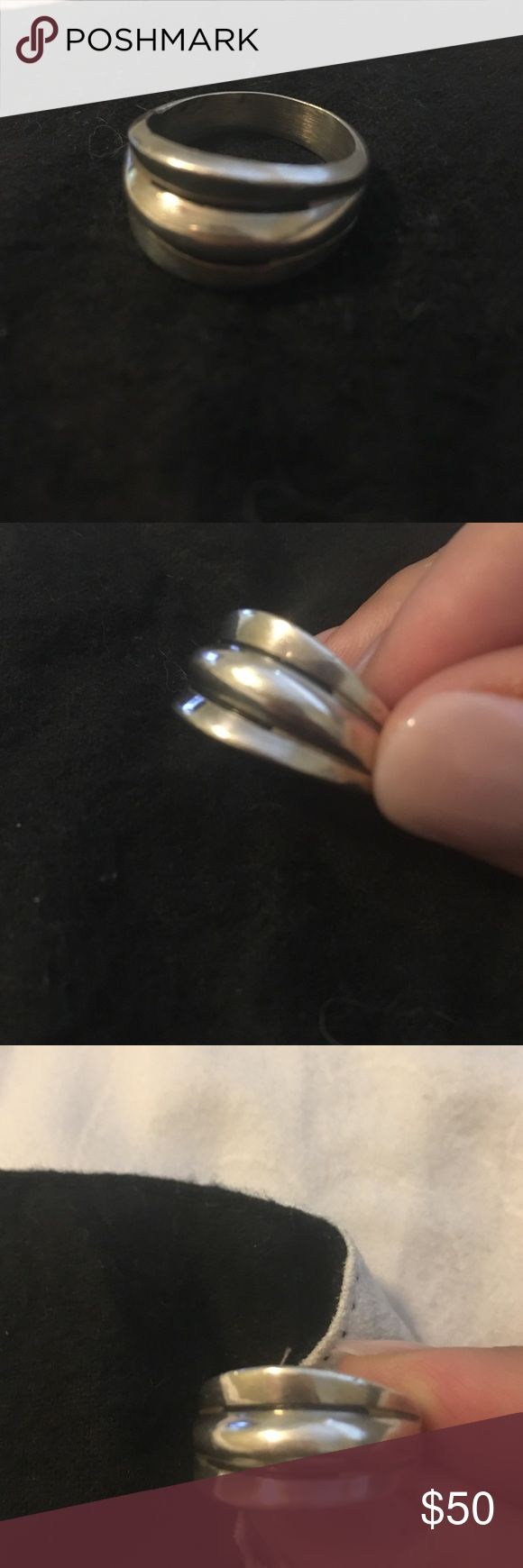 Sterling silver three band ring. .925 Beautiful triple band .925 sterling silver ring. Jewelry Rings