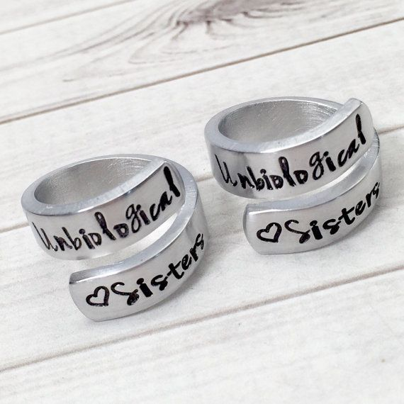 Best Friend Rings - Unbiological Sisters - Matching Friendship Rings - Greek Sister Rings - Step Sister Rings - Stamped Wrap Ring - Set of 2