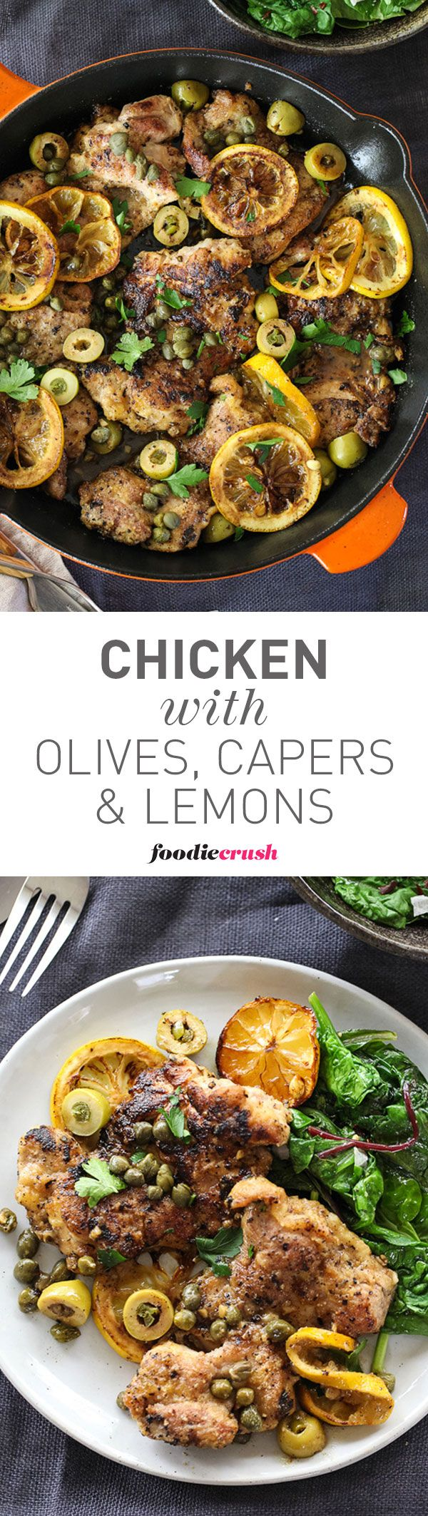 I love chicken thighs because they stay juicy when cooking. The Mediterranean flavors really shine in this easy weeknight chicken dinner   foodiecrush.com