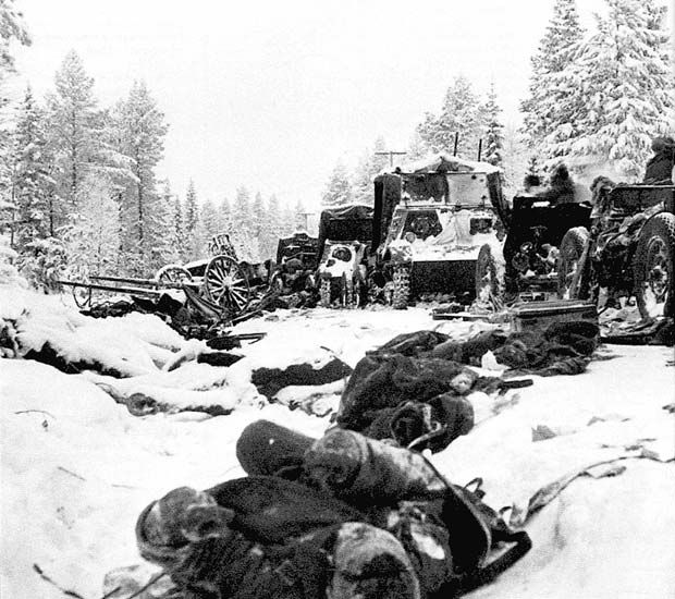 One of the most iconic images of the Winter War / Talvisota. Abandoned frozen bodies of dead Russian soldiers, abandoned tanks and guns on the Raate Road, Finland after the Soviet 44th and 163rd divisions were encircled and cut off by Finnish troops.