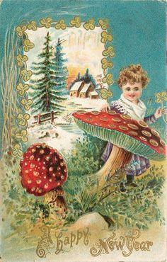 New Year Red Polka Dot Mushrooms Toadstool Lil Girl Plucks Shamrocks Gold Emboss | eBay