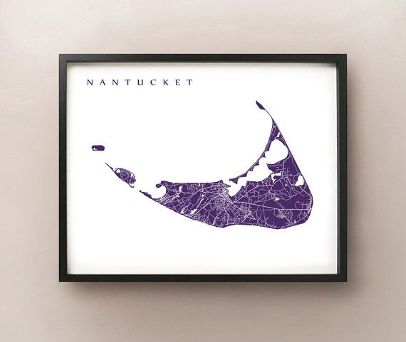 Nantucket Map Print  Massachusetts Poster by CartoCreative on Etsy
