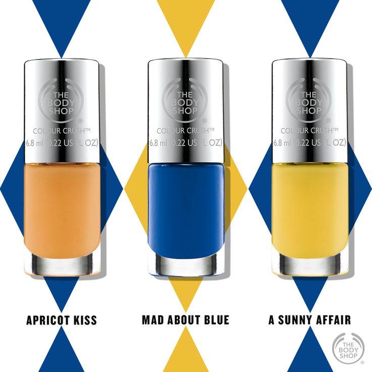 Bright colours make us happy! Which is your favourite? The Body Shop Apricot Kiss; Mad About Blue or A Sunny Affair? http://www.thebodyshop.co.za/store/product/colour-crush-nail-polish