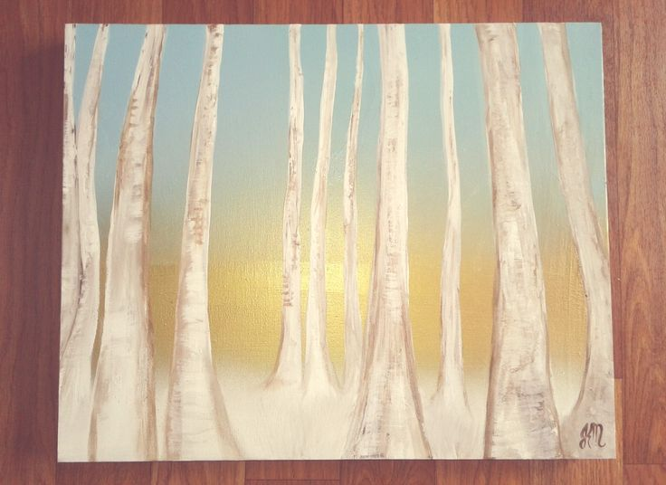 """""""Sequence"""" acrylic on canvas. Birch trees, gold and blue background."""