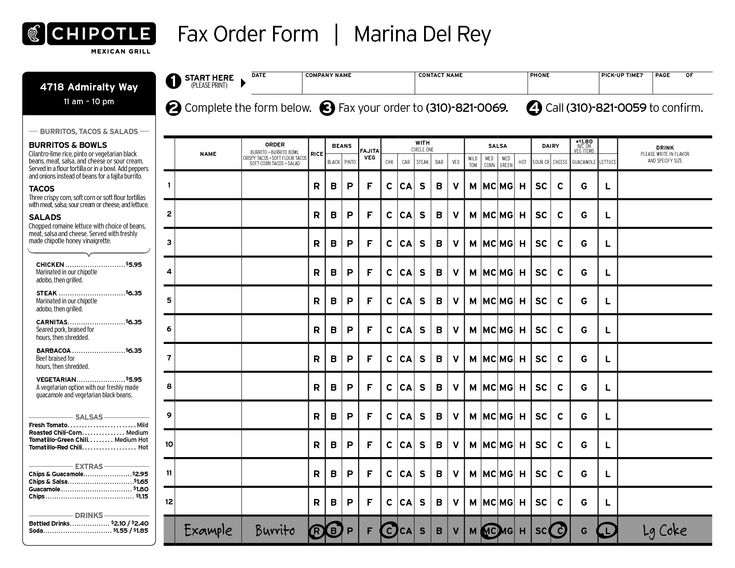 #31: Chipotle Mexican Grill Fax Order Form. I choose this