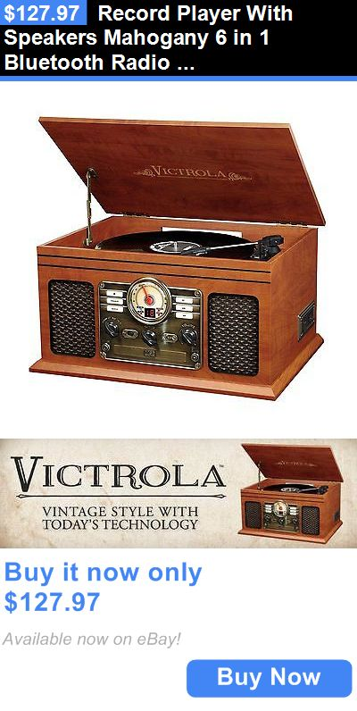 Home Audio: Record Player With Speakers Mahogany 6 In 1 Bluetooth Radio Classic Cd Casette BUY IT NOW ONLY: $127.97