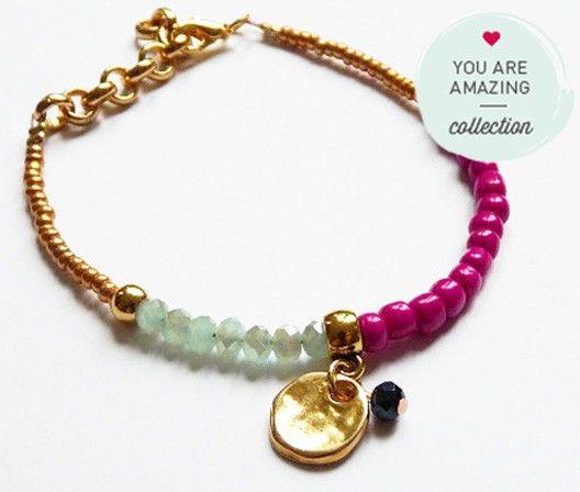 Armband / Bracelet aus der You Are Amazing Kollektion mit Swarovski Steinen und Anhänger, pink, grün, gold. Nur bei www.thebungalow.ch