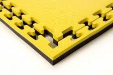 Sportmat Basic 4 cm voor judo geel/zwart