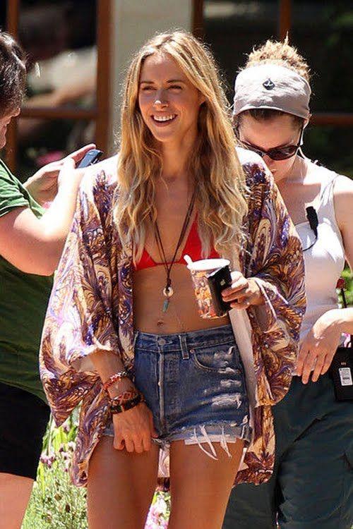 Kimono cutoff denim shorts bikini
