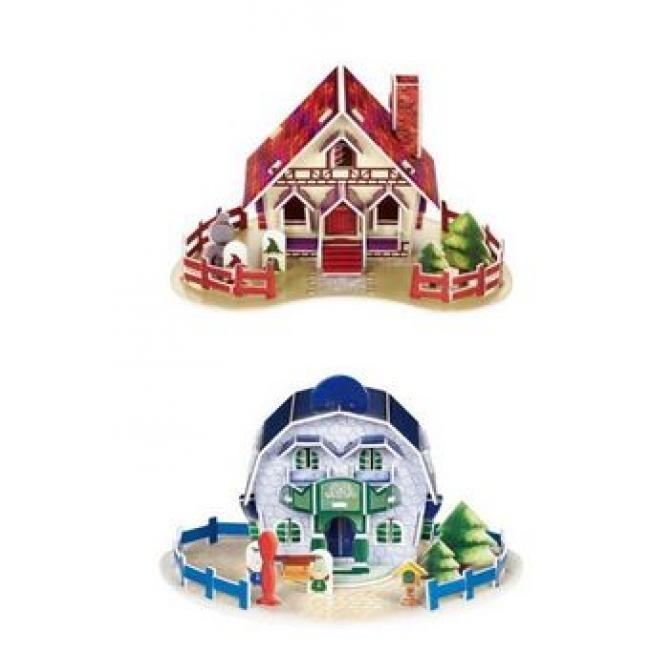 A 3D-s házikók puzzle 4db ház építhető a csomagból. Fejleszti a térbeli látásmódot és a finom motoros képességeket.  3D Puzzle készségfejlesztő 56 db-os.  Nem szülséges semmilyen segédeszköz az összeállításához, mindent tartalmaz a csomag.  Métere: 15x11x8 cm Nehézség: k