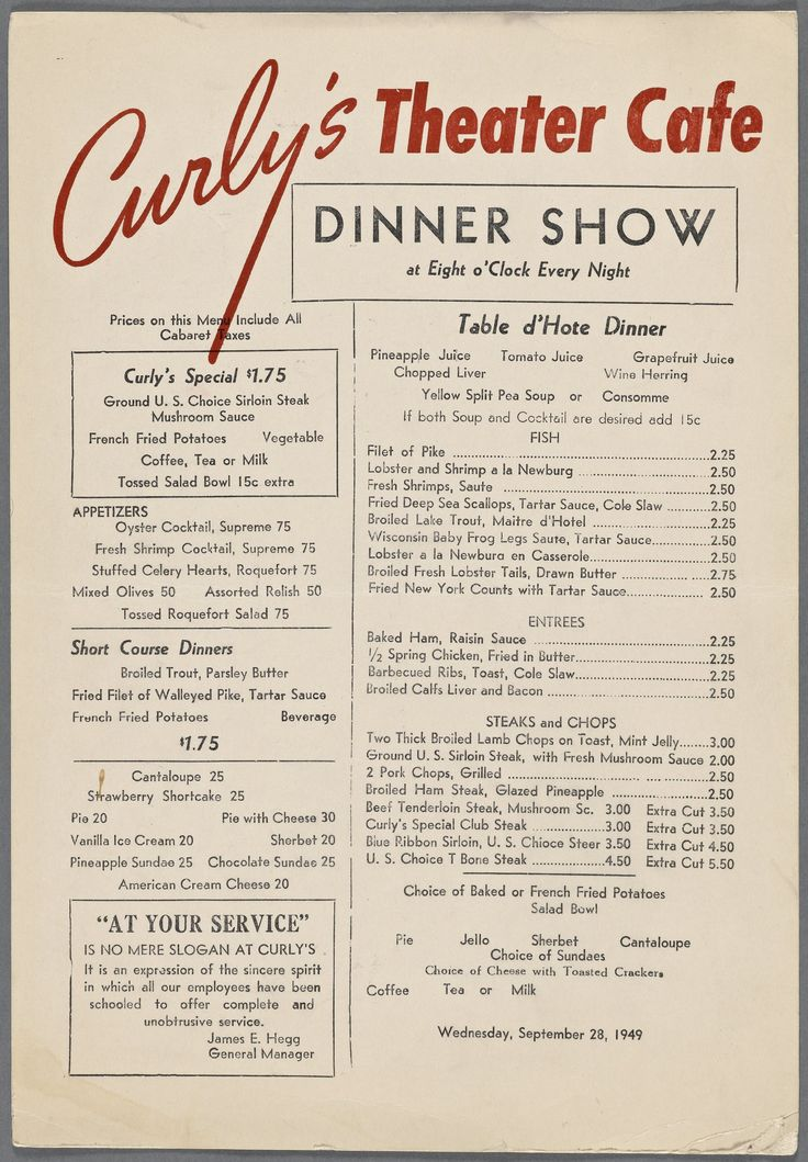 1940s menu for Curly's Theater Cafe