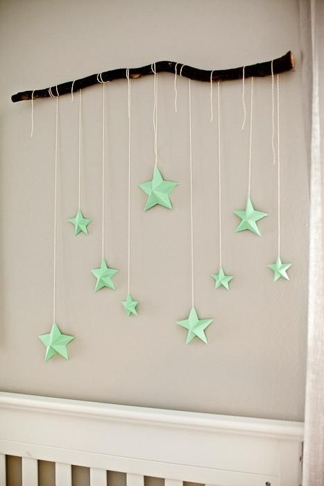 DIY Tutorial DIY Nursery Mobiles / DIY Branch with 3D Stars - Bead&Cord