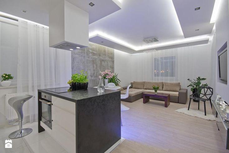 Nowoczesne mieszkanie w Gdańsku- Średni salon z kuchnią z jadalnią, styl nowoczesny - zdjęcie od SIMPLY DESIGN