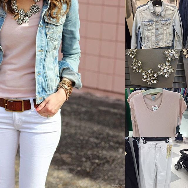 Loving this color combo found on #pinterest   by @lilly_101 // recreate on a budget with @hm jacket, @walmart necklace, @tjmaxx top & jeans. Everything's in stores now (statement necklace selection at Walmart may vary- these are just $10!) under $35  #outfitidea #pinspiration #whoawaitwalmart #maxxinista #blush #blushpink #rosequartz #whitejeans #denimjacket #budgetbabechic