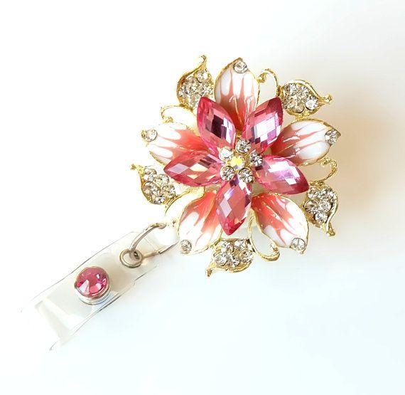 Nurses Week Gifts Rose Elegance Rhinestone Badge Holders Bling Badge Reels Nurse Gifts by BadgeBlooms