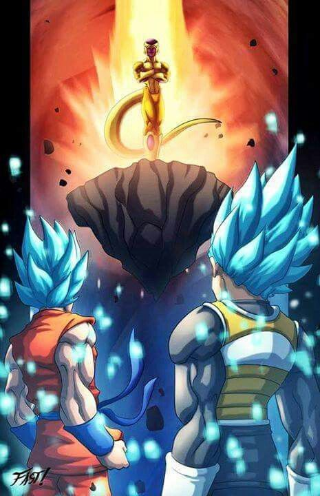 SSB Goku and SSB Vegeta VS Golden Frieza. I can't wait how this fight will turn out in Super. I think there's gonna be a plot twist since Togoma is alive (since he was thrown into the Vacumn of Space when Frieza was resurrected), I wonder what it is? But the movie was pretty cool though. Lots of action.