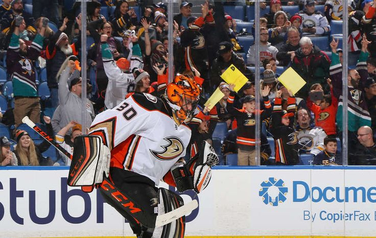 BUFFALO, NY - FEBRUARY 6: Ryan Miller #30 of the Anaheim Ducks celebrates a win against the Buffalo Sabres during an NHL game on February 6, 2018 at KeyBank Center in Buffalo, New York. The Ducks won, 4-3, in overtime. (Photo by Rob Marczynski/NHLI via Getty Images)