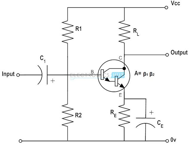 pnp and npn darlington pair transistor amplifier circuits