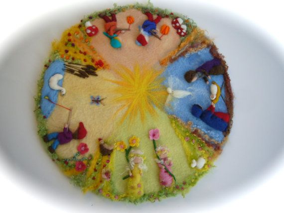 XXL:Seasonable circle, Picture,tapestry,Wall hanging,Wet felted,Needle Felted. Waldorf