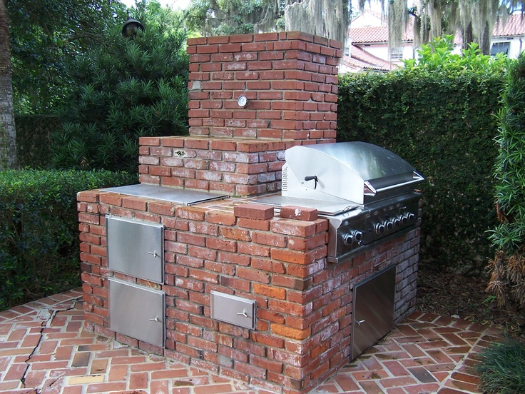 Custom brick outdoor grill winter park fl grills for Outdoor kitchen smoker plans