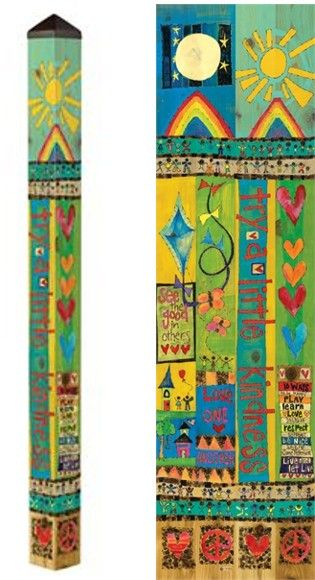 Peace Pole Try A Little Kindness   New Garden Art Poles At Carolina  Creations!