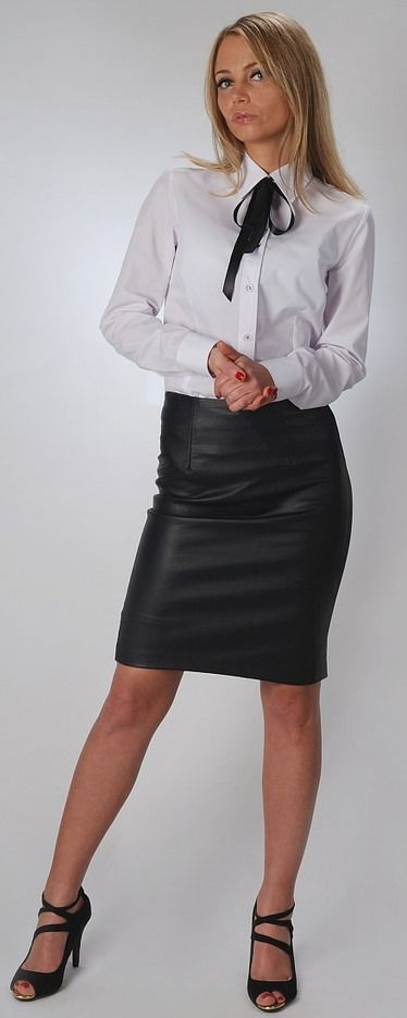 At Home Dressed Formal In White Shirt Black Bow And Black Pencil Skirt