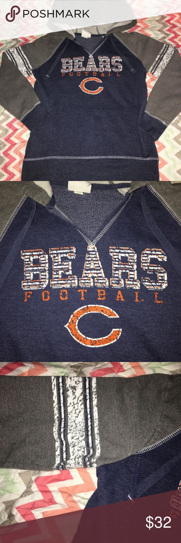 NFL Apparel Chicago Bears Pullover Hoodie - XS PRICE is negotiable, unless otherwise stated.   Details: color block design gray and blue. Has Sport stripes and Graphic logo across front the Graphic is a crackle design. This has never been worn but has been washed.  ••COLOR: gray white blue and orange   Size: No tag fits XS   Brand: NFL Apparel   Condition: Like New   #CksOverload #CKsCloset #ClosetOverload #ShopNow #Share #Follow #ISO #InstaShop #ForSale #NOTRADE #PoshCompliant   ••I do NOT…