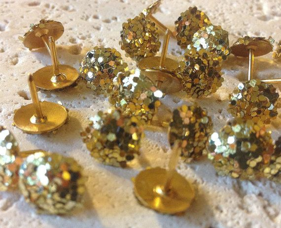 Gold glitter Push Pins, Pin, Thumb tacks, Bulletin Board Decor, cute office supplies, cubicle, pushpin, pushpins, decorative thumbtacks
