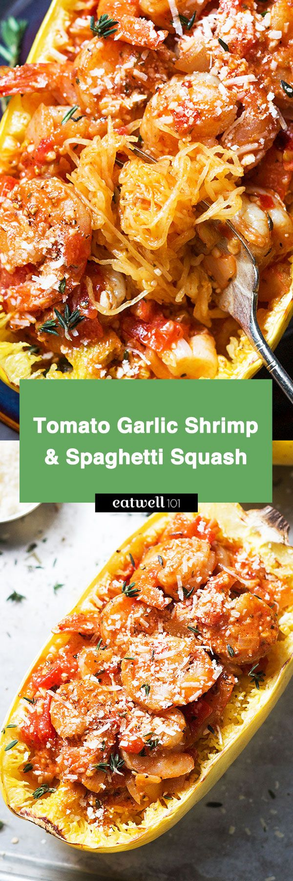 Don't miss this stuffed spaghetti squash with spicy shrimp in garlic tomato cream sauce. eatwell101.com