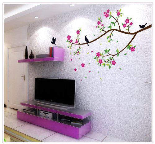 cheap wall decals -YYone Brown Branch Tree with Red Flowers Green Leaves and Birds Wall Mural Decal Decor Sticker