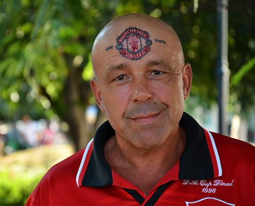 "Now this is devotion! This fan changed his name to ""Manchester United"" and got a tattoo on his forehead."