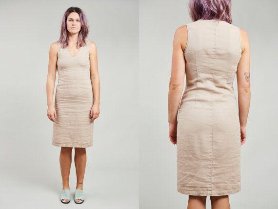 1990s Smart Set Khaki Beige Linen Sleeveless Summer Sheath Dress  XS by SoftServeVintage