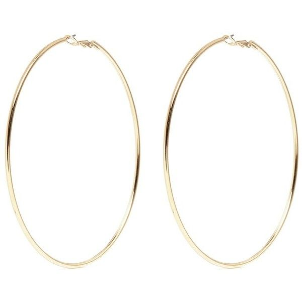 Kenneth Jay Lane Gold plated large hoop earrings ($70) ❤ liked on Polyvore featuring jewelry, earrings, metallic, hoop earrings, polish jewelry, metallic jewelry, gold plated jewellery and earring jewelry