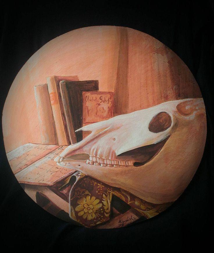 Painting acrylic table Vanitas Memento Mori tempera paints skull skull skull dipinto acrilico su legno teschio cavallo wunderkammer oddities di studyartantique su Etsy