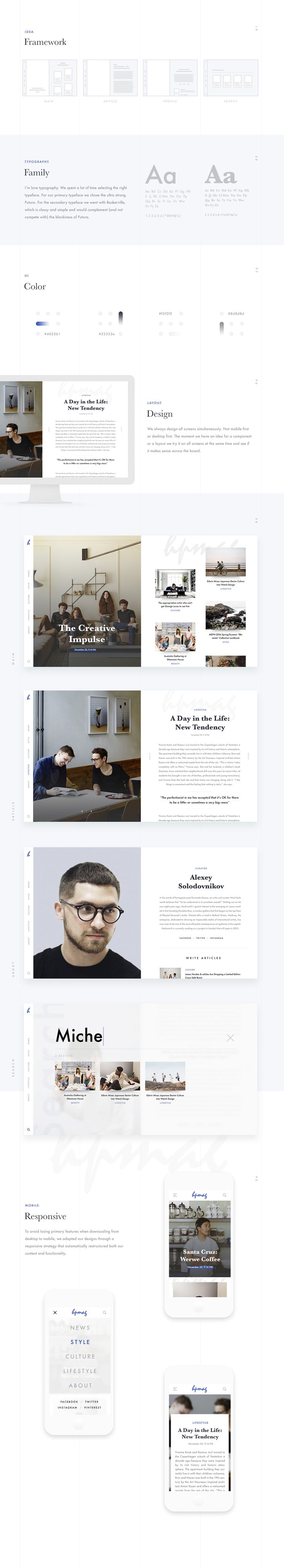 Hpmag redefined the concept of an online magazine by bringing together elements from apps, traditional printed editorial publications & web design.