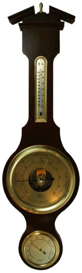 Fischer Instruments 6901-22 Brass Dial Banjo Weather Station with Thermometer, Hygrometer, Barometer
