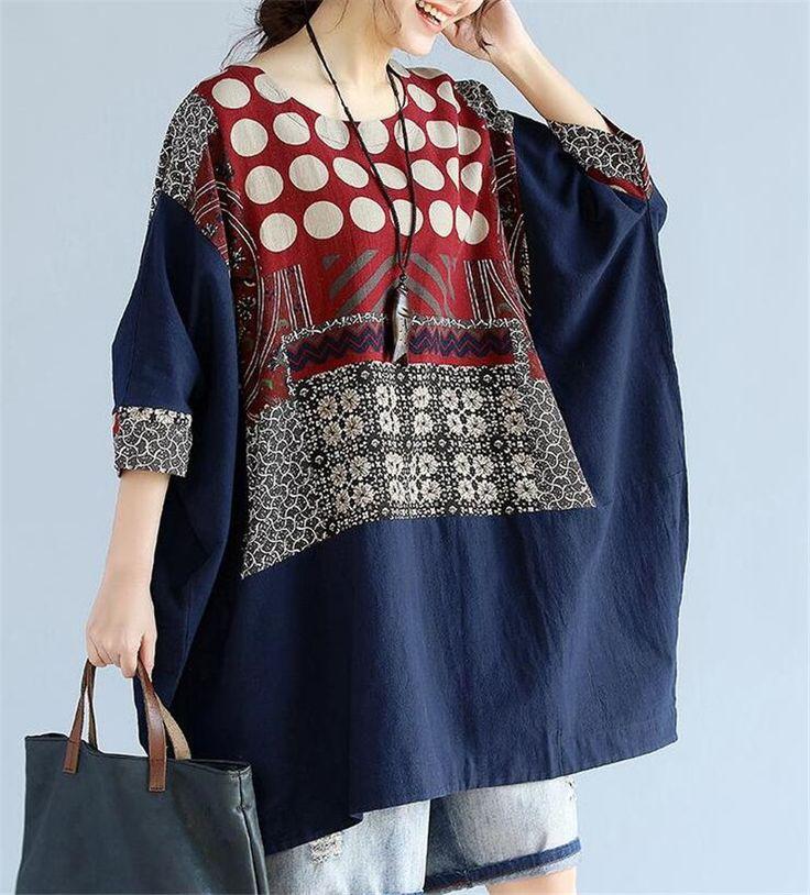 >> Click to Buy << Camisetas New Sale Tumblr Oversize T-shirt Plus Size Cotton Linen Polka Dot Female Batwing Tops Large 2017 Vintage Women Summer  #Affiliate