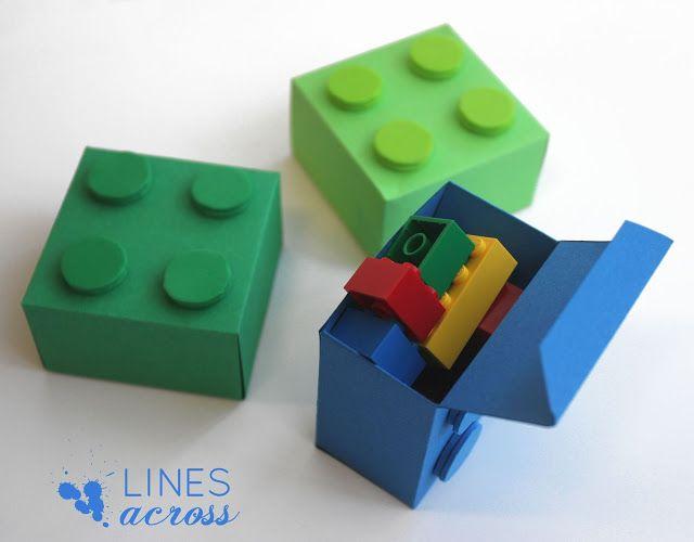 Sinterklaas surprise: Lego gift boxes (with free templates) (nodig: gekleurd karton, schaar, lijm en schuimrubber) (@ Lines Across)