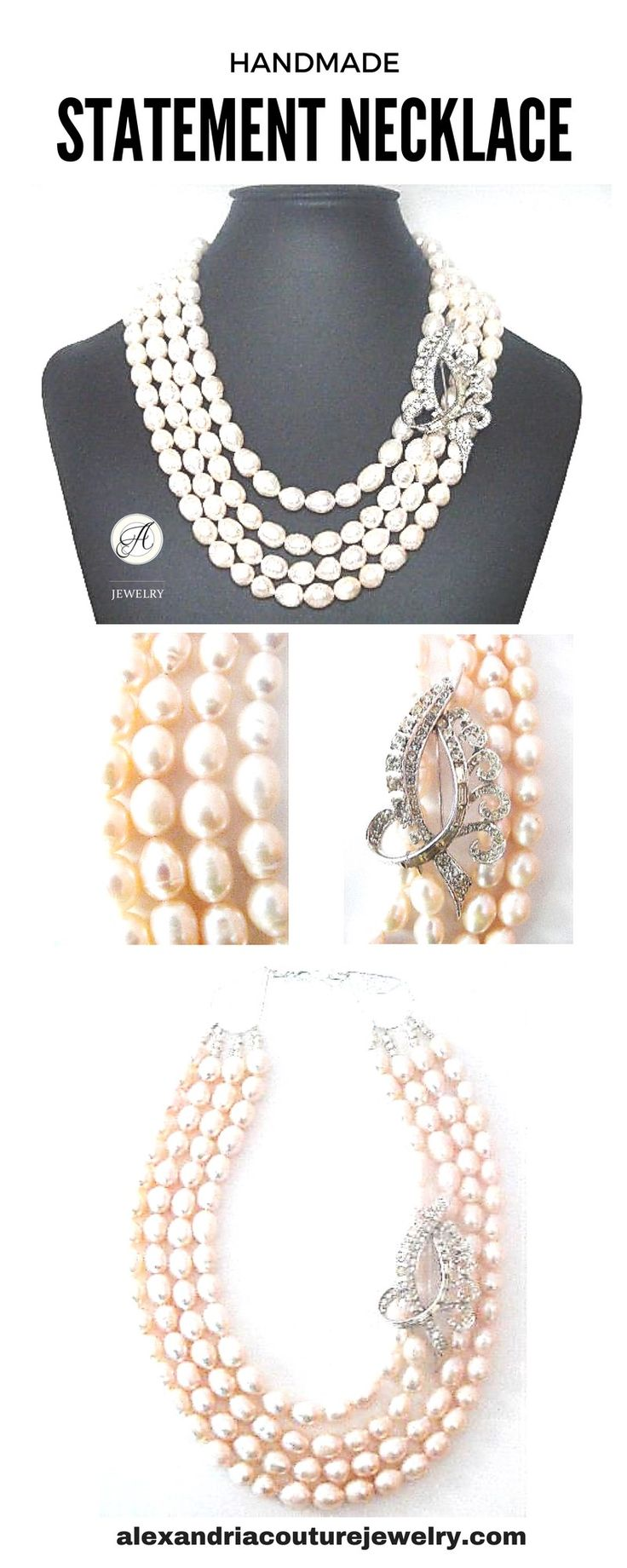 Unique, handmade statement necklace featuring pink freshwater pearls paired with vintage brooch. Wear it with lace dresses or chic outfits in black, white, pink colours. Add a feminine touch to your look! $275.00. #freshwaterpearl#statementnecklaces#necklaces#handmadenecklace