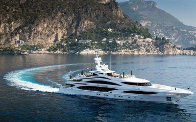 Scarica sfondi nave, bianco yacht, yacht di lusso, mare, montagne