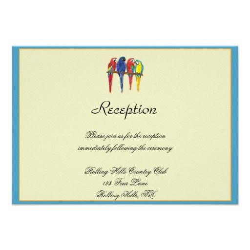 Tropical Parrots Wedding Reception Invite