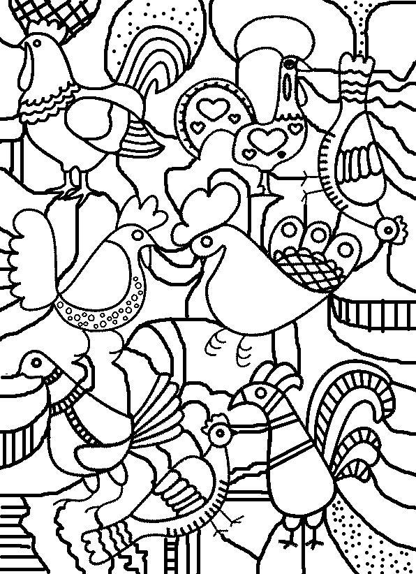 coloriage graphisme poule