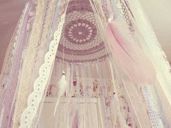 Made To Order - Gypsy bed canopy with laces stripes and feathers  May be used as baby crib crown, or also as very boho bedroom decor Available in